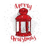 Vintage Christmas lantern and inscription. Vector illustration for a card or poster. New Year`s and Christmas. Winter. Beautiful light Stock Photo
