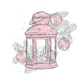 Vintage Christmas lights and Christmas tree with balls. Vector illustration for a card or poster. New Year`s and Christmas. Winter Royalty Free Stock Photography