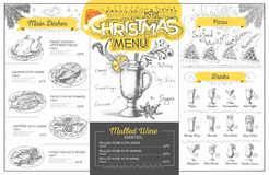 Vintage  christmas menu design. Restaurant menu Royalty Free Stock Photos