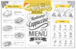 Vintage  christmas menu design. Restaurant menu Royalty Free Stock Images