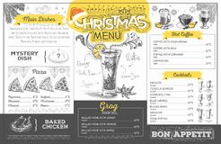 Vintage  christmas menu design. Restaurant menu Royalty Free Stock Image