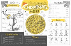 Vintage  christmas menu design. Restaurant menu Stock Photo