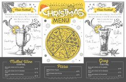 Vintage  christmas menu design. Restaurant menu Stock Photos