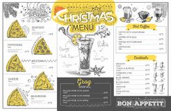 Vintage  christmas menu design. Restaurant menu Royalty Free Stock Photo