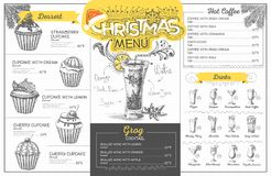 Vintage  christmas menu design. Restaurant menu Stock Photography