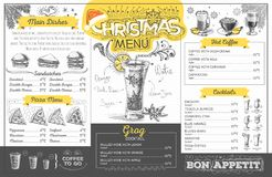 Vintage  christmas menu design. Restaurant menu Stock Images