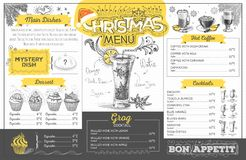 Vintage  christmas menu design. Restaurant menu Stock Image