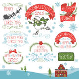 Vintage Christmas,New Year Calligraphic badges set Stock Images