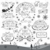Vintage Christmas,New Year Calligraphic badges set Stock Image