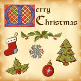 Vintage Christmas (New Year) elements. Vintage Christmas (New Year) elements set. Gothic lettering Royalty Free Stock Image