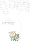Vintage Christmas and New Year greeting card with cute sheep. Christmas and New Year card with sheep knitted sweater stock illustration