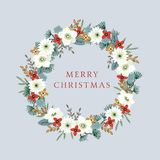 Vintage Christmas, New Year greeting card, invitation with illustration of decorative floral wreath made of holly. Hellebores flowers, pine, fir tree branches Stock Photos