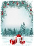 Vintage Christmas or New Year greeting card. Vector stock images