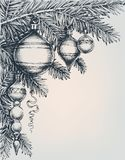 Vintage Christmas and New Year greeting card. Christmas tree and beautiful decorations. Engraving style royalty free illustration
