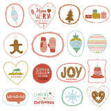Vintage Christmas and New Year greeting stickers Stock Photos