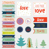 Vintage Christmas and New Year greeting stickers. Labels, tags and ribbons with cute winter elements, icons, typography, greeting and wishes. Good for winter Stock Photography