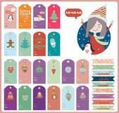 Vintage Christmas and New Year greeting stickers. Labels, tags and ribbons with cute winter elements, icons, typography, greeting and wishes. Good for winter Stock Images
