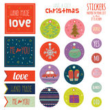 Vintage Christmas and New Year greeting stickers. Labels, tags and ribbons with cute winter elements, icons, typography, greeting and wishes. Good for winter Royalty Free Stock Photo