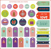 Vintage Christmas and New Year greeting stickers. Labels, tags and ribbons with cute winter elements, icons, typography, greeting and wishes. Good for winter Stock Image