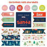Vintage Christmas and New Year greeting stickers. Labels, tags and ribbons with cute winter elements, icons, typography, greeting and wishes. Good for winter Royalty Free Stock Photos