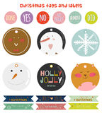 Vintage Christmas and New Year greeting stickers. Labels, tags and ribbons with cute winter elements, icons, typography, greeting and wishes. Good for winter Royalty Free Stock Photography