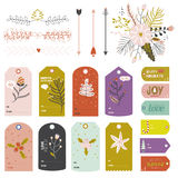 Vintage Christmas and New Year greeting stickers Royalty Free Stock Photography