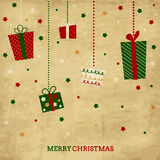 Vintage Christmas and New Year holiday card with p vector illustration