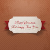 Vintage Christmas and New Year Label with Ribbon Royalty Free Stock Photography