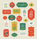 Vintage Christmas and New Years gift tags and stickers stock illustration