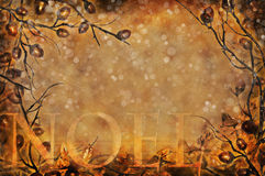 Vintage Christmas Noel. A vintage textured Noel frame with twigs and acorns Royalty Free Stock Photography