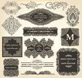 Vintage Christmas ornaments. Collection of Christmas Ornaments and Decorative Elements Stock Photography