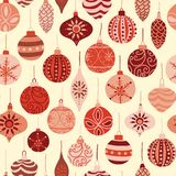 Vintage Christmas ornaments red and beige seamless vector pattern background. Repeated retro Christmas texture. Vector print for. Fabric, gift wrap, packaging stock illustration