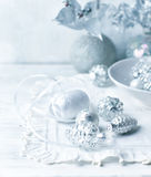 Vintage Christmas ornaments in white Royalty Free Stock Image