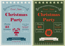 Vintage Christmas Party Invitation Stock Photos