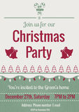 Vintage Christmas party invitation. Vector illustration of Christmas party in vintage style decorated with Christmas tree, bells and snowflakes Royalty Free Stock Image