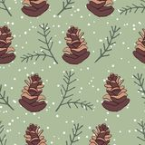 Vintage christmas pine cone seamless pattern with green background. Christmas season seamless pattern with vintage feel, pine cone green background stock illustration