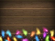 Vintage Christmas planked wood with lights. EPS 10 Royalty Free Stock Photo