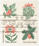 Vintage Christmas Plants Stamp. This is a Vintage 1966 Stamp Christmas Plants Royalty Free Stock Photos