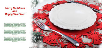 Vintage Christmas plate on holiday background with xmas tree Royalty Free Stock Photos