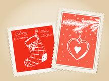 Vintage Christmas post stamp set Stock Photos