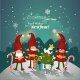 Vintage Christmas poster design with Christmas Elves. Stock Images