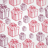 Vintage Christmas presents seamless pattern backgr Royalty Free Stock Photo