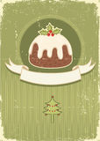 Vintage Christmas Pudding On Old Paper Texture Royalty Free Stock Image