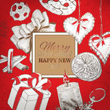 Vintage Christmas Red engraving card Royalty Free Stock Photography
