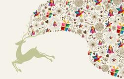 Vintage Christmas reindeer jumping Royalty Free Stock Image
