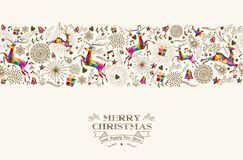Vintage Christmas reindeer seamless pattern Royalty Free Stock Photos