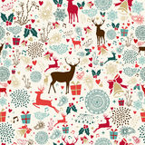 Vintage Christmas reindeer seamless pattern. Vintage Christmas elements seamless pattern wrapping background. EPS10 vector file organized in layers for easy royalty free illustration