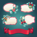 Vintage Christmas ribbon tag label set vector illustration