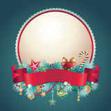Vintage Christmas round greeting banner. Vintage Christmas festive ornate banner Stock Image