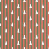 Vintage christmas seamless background. Seamless Christmas background with trees Stock Photos
